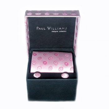 Pink silk tie and cufflink set