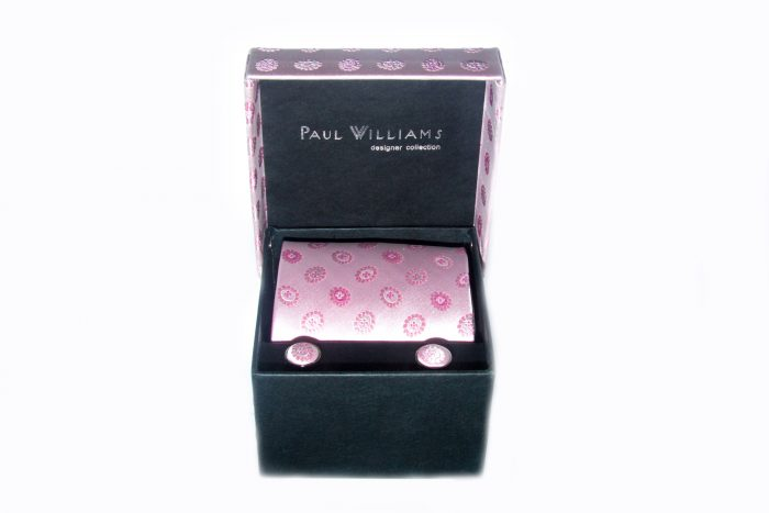 Pink silk tie and cufflink set