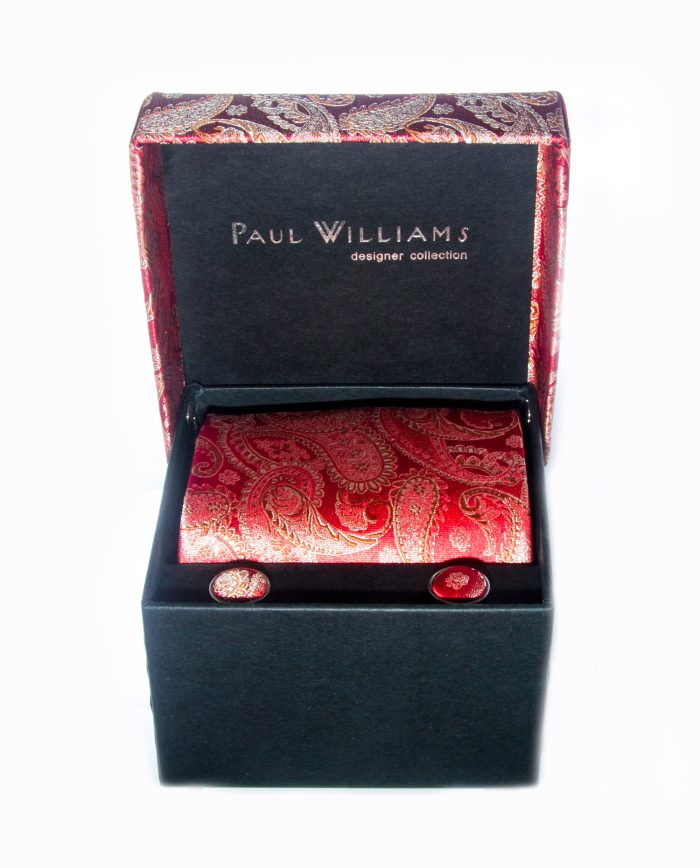 Red Silk Tie and Cuff Link Set